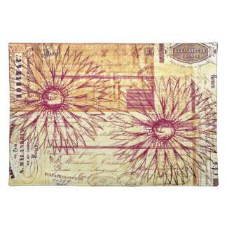 Marsala Vintage French Typography Flower Decor Placemat