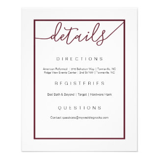 Marsala Wedding Details Flyer, Wine Accents Flyer