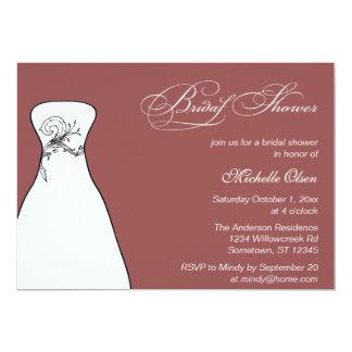 Marsala Wedding Dress Bridal Shower 13 Cm X 18 Cm Invitation Card