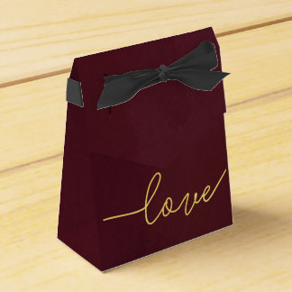 Marsala Wedding Favour Box, Wine Coloured Favour Box