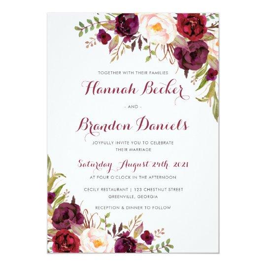 Marsala Wedding Invitation. Boho Burgundy Invite