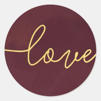 Marsala Wedding Invitation Stickers, Wine Colored Classic Round Sticker
