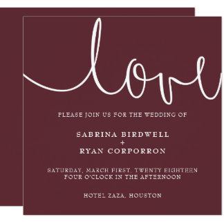 Marsala + white classic elegant wedding invitation