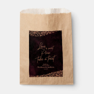 Marsala Wine & Rose Gold Wedding Love is Sweet Favour Bags