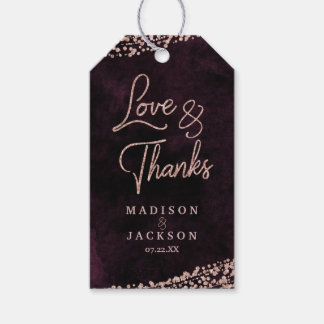 Marsala Wine & Rose Gold Wedding Love & Thanks Gift Tags