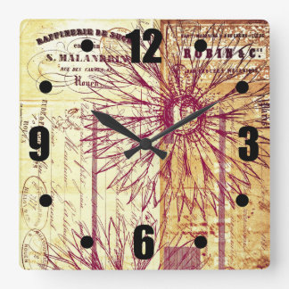 Marsala Wine Vintage French Typography Flowers Square Wall Clock