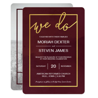 Marsala, Wine Wedding Invitation with Photo