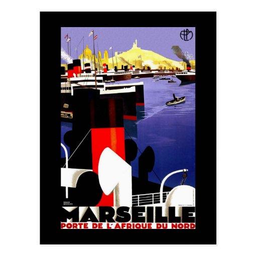 """""""Marseilles, France"""" Vintage Travel Post Card"""