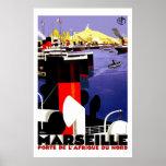 Marseilles, France Vintage Travel Poster