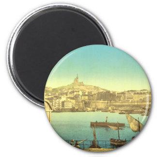 Marseilles Harbour I 6 Cm Round Magnet
