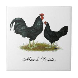 Marsh Daisy Chickens Tile
