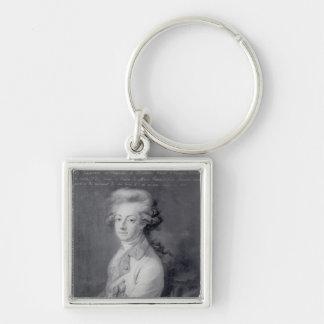Marshal Charles-Joseph  Prince de Ligne Silver-Colored Square Key Ring