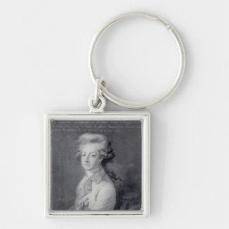 Marshal Charles-Joseph  Prince de Ligne Silver-Colored Square Key Ring