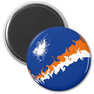 Marshall Islands Gnarly Flag 6 Cm Round Magnet