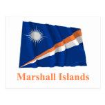 Marshall Islands Waving Flag with Name Post Card