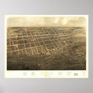 Marshall Michigan 1868 Antique Panoramic Map Print