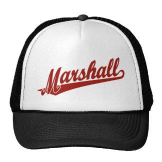 Marshall script logo in red cap