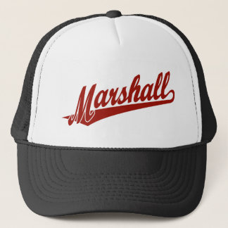 Marshall script logo in red trucker hat