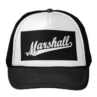 Marshall script logo in white cap