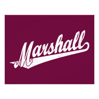 Marshall script logo in white distressed full color flyer