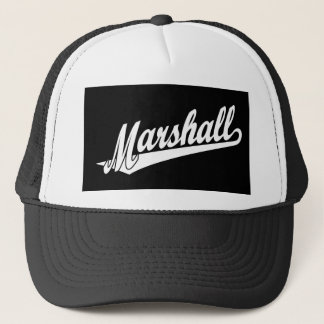 Marshall script logo in white trucker hat