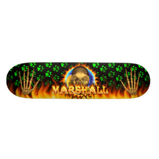 Marshall skull real fire and flames skateboard des