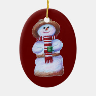Marshmallow Snowman Merry Christmas Ceramic Oval Decoration