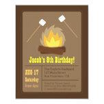 Marshmallows Bonfire Birthday Party Invitations