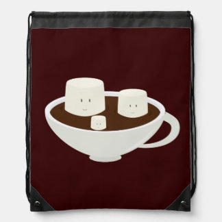 Marshmallows in a cup of hot chocolate drawstring backpack