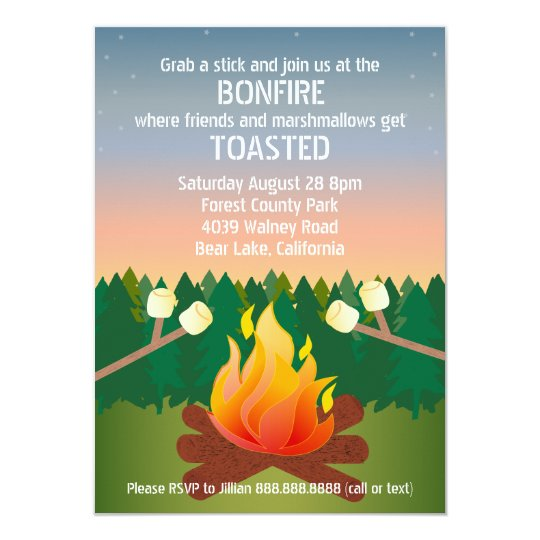 Marshmallows Toasted Bonfire Party Card