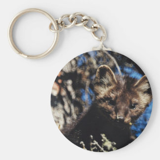 Marten in Spruce Tree Basic Round Button Key Ring