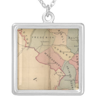 Martenet's Map of Maryland, Atlas Edition Silver Plated Necklace