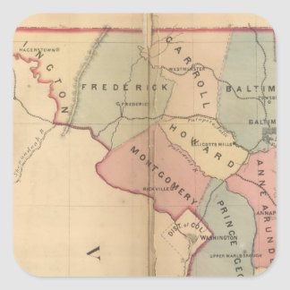 Martenet's Map of Maryland, Atlas Edition Square Sticker