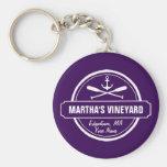 Martha's Vineyard MA custom town nautical anchor Basic Round Button Key Ring