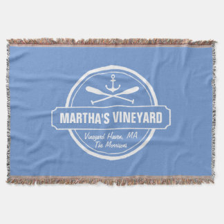 Martha's Vineyard MA custom town nautical anchor Throw Blanket