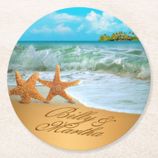 Martha Starfish Couple ASK 4 YOUR NAMES IN SAND Round Paper Coaster