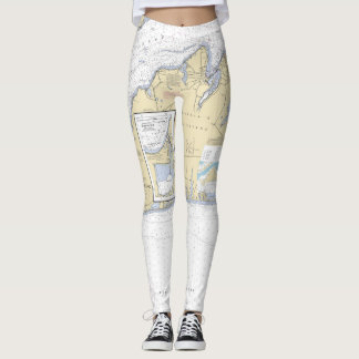 Martha's Vineyard Cape Cod MA Nautical Chart Leggings