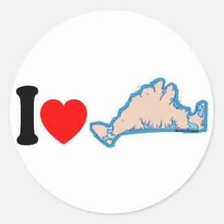 "Martha's Vineyard ""I Love"" Design. Classic Round Sticker"