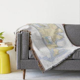 Martha's Vineyard Latitude Longitude Nautical Throw Blanket