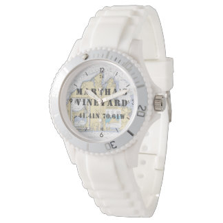 Martha's Vineyard Latitude Longitude Nautical Watch