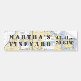 Martha's Vineyard Latitude Longitude Navigation Bumper Sticker