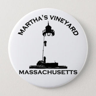 "Martha's Vineyard ""Lighthouse"" Design. 10 Cm Round Badge"