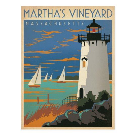 Martha's Vineyard, MA - Lighthouse Postcard