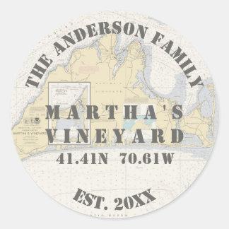 Martha's Vineyard Nautical Envelope Seals Boaters Round Sticker