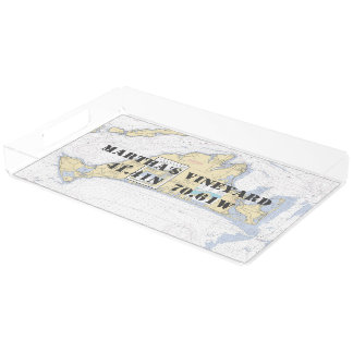 Martha's Vineyard Nautical Latitude Longitude Acrylic Tray