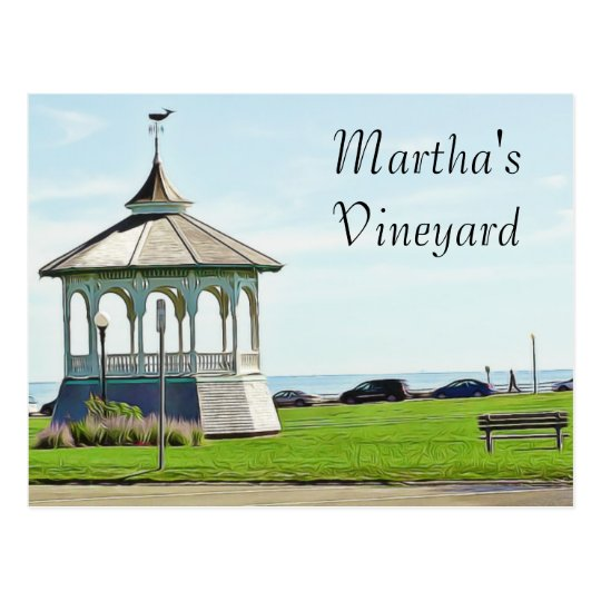 Martha's Vineyard Ocean Bench and Gazebo Postcard