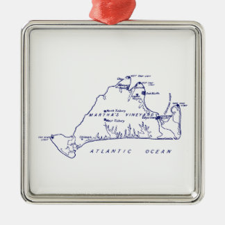 Martha's Vineyard Vintage Map #1 Navy Blue Christmas Ornament