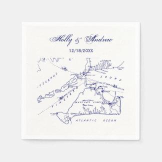 Martha's Vineyard Vintage Map #1 Navy Blue Disposable Napkin