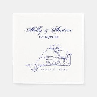 Martha's Vineyard Vintage Map #1 Navy Blue Disposable Serviette