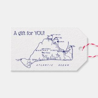 Martha's Vineyard Vintage Map #1 Navy Blue Gift Tags